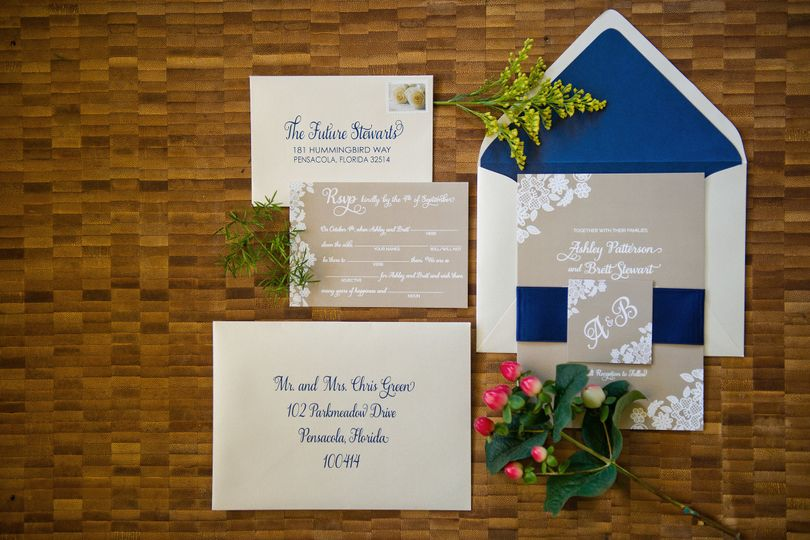 The Navy and Lace Suite - Deep blues and calming sand tones bring this elegant suite to perfection,...