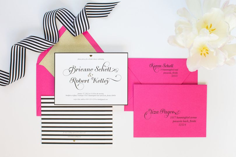The Kate Spade Inspired Suite - black and white with touches of gold foil and a bright fuchsia, gold...