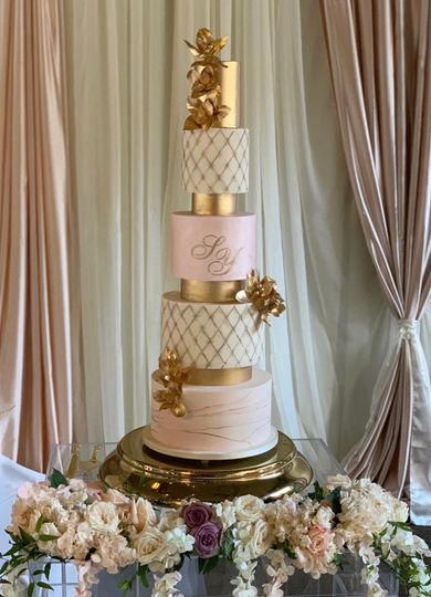 5 tier gold and blush pink