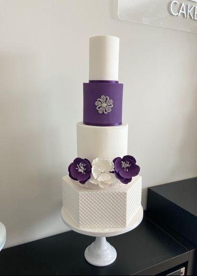 Purple & white hexagon wedding