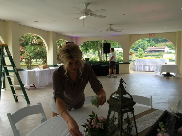 Reception set up on Veranda, Lake Lure Inn and Spa