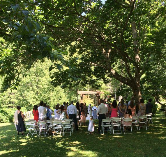 Wedding Ceremony at the Vineyards at Betty's Creek, Sylva, NC (near Dillsboro). Garden Wedding.