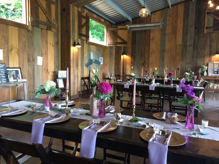 Wedding Reception at the Vineyards at Betty's Creek, Sylva, NC (near Dillsboro). Pavilion with Farm...