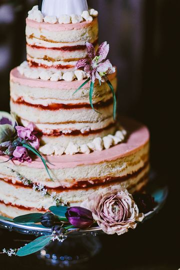 Small Three Tier Cake in Strawberry Lemon credit: redfield photo