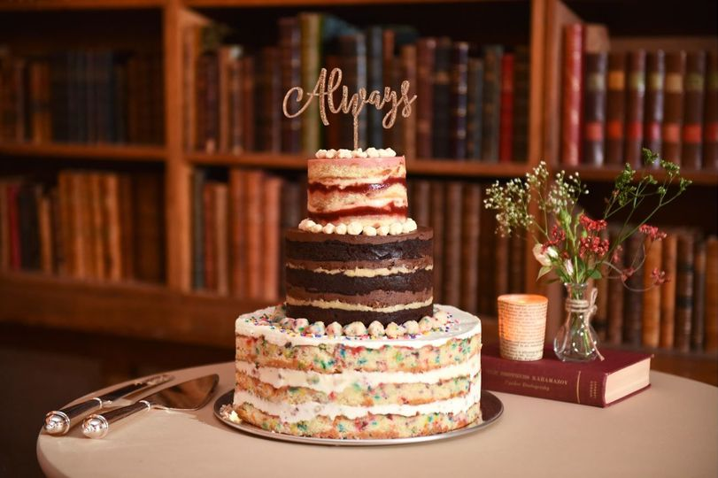 Small Three Tier Cake multi flavor credit: jessica schmitt photo