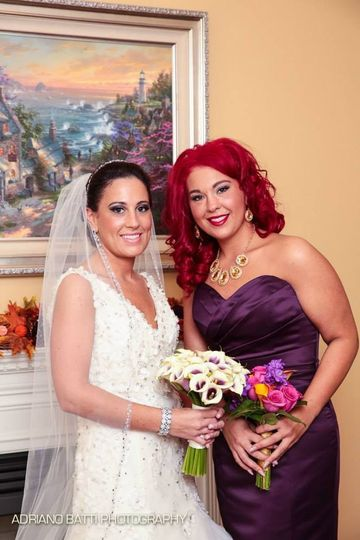 Bride and maid of honor
