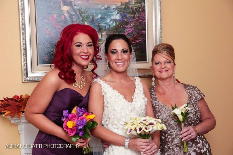 Bride, maid of honor, and mother