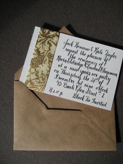 custom, hand-lettered New Year's Eve invitation