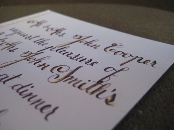 copperplate-lettered dinner invitation on bright white cotton stock