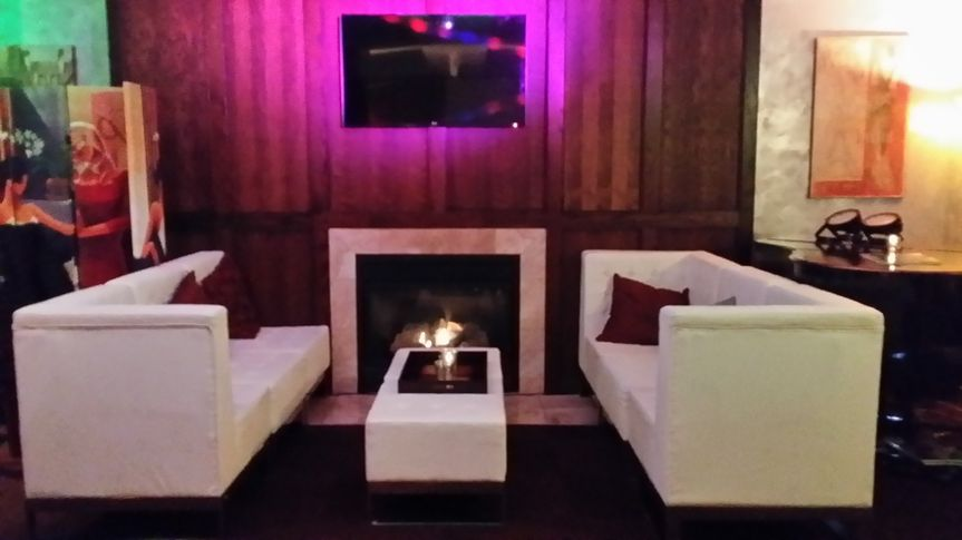 Couches by the fire place