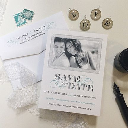 Tmx 1440459302149 Lovely Swirls Save The Date Hidden Valley Lake wedding invitation