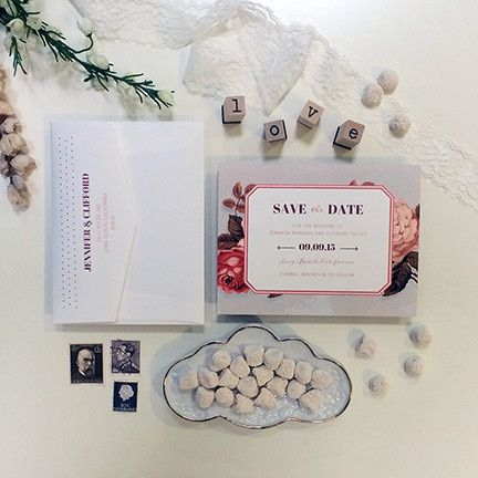 Tmx 1440459308637 Victorian Roses Save The Date Hidden Valley Lake wedding invitation