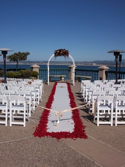 Ceremony set-up on the Upper Plaza at the Monterey Plaza Hotel & Spa.