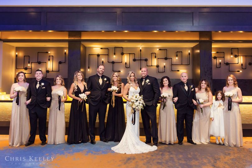 Bridal Party shot in front of new bar area