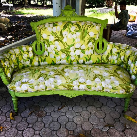 Fun apple green couch