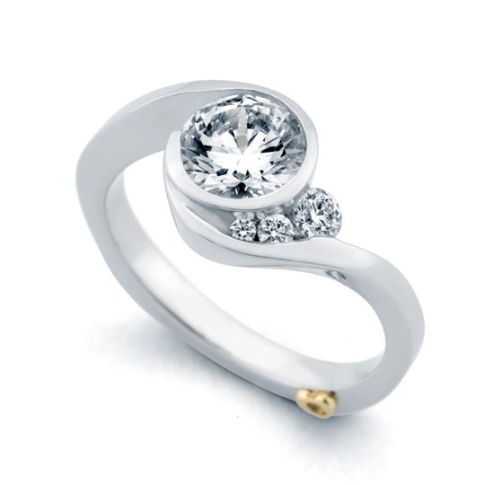 Escape - 15182  The Escape engagement ring contains 4 diamonds, totaling 0.12ctw. Available in...