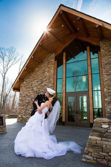 A kiss outside the chapel