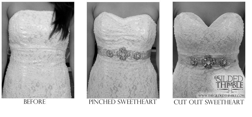 One dress, two different sweetheart options.  Pinched or cut out. Go to our website to view many...