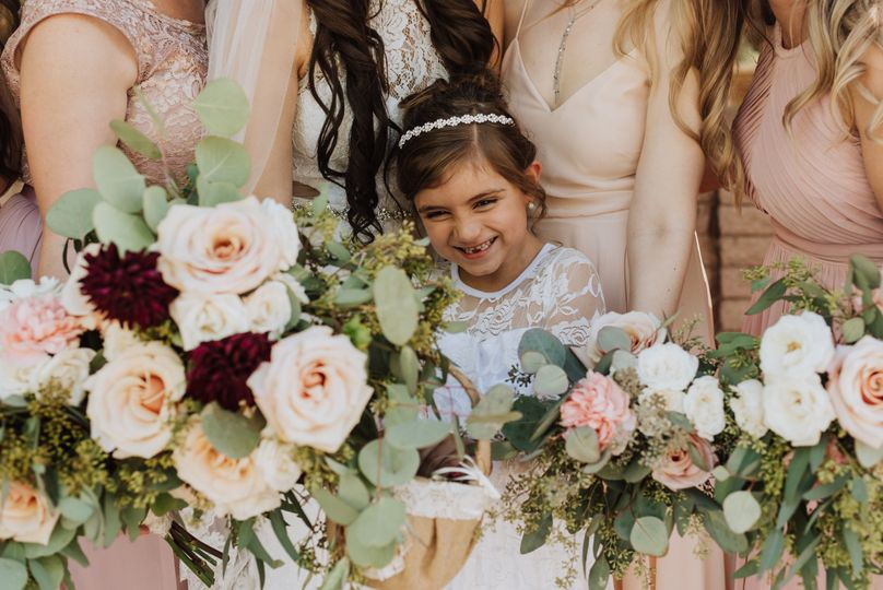 Flowers around the flower girl