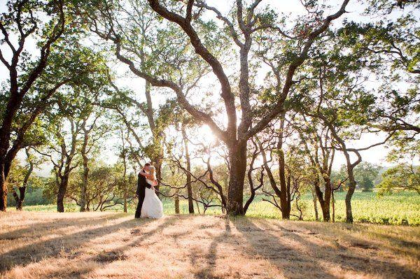 Bride and groom walking near vineyards and oak trees