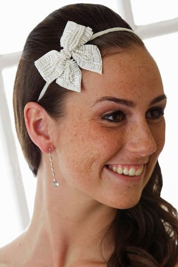 Brielle Bridal Hair Band - Thin Hard Hair Band with Beaded Bow