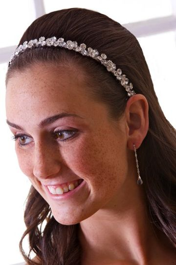 Sienna Bridal Hair Band - Thin Hard Metal Hair Band with Swarovski Crystal Chain