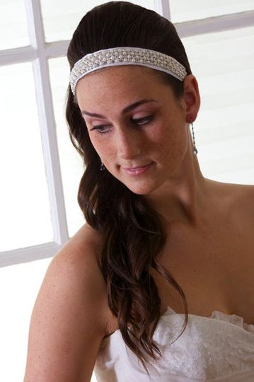 Mara Bridal Hair Band - Ribbon Hair Band with Swarovski Crystal & Pearl Chain