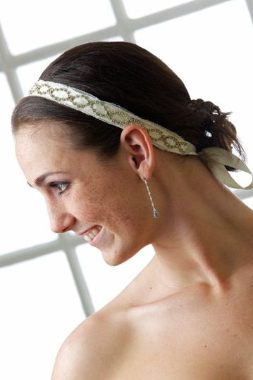 Erika Bridal Hair Band - RIbbon Hair Band with Swarovski Crystal Chain and French Netting