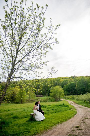 Couple at the Quonquont Farm grounds