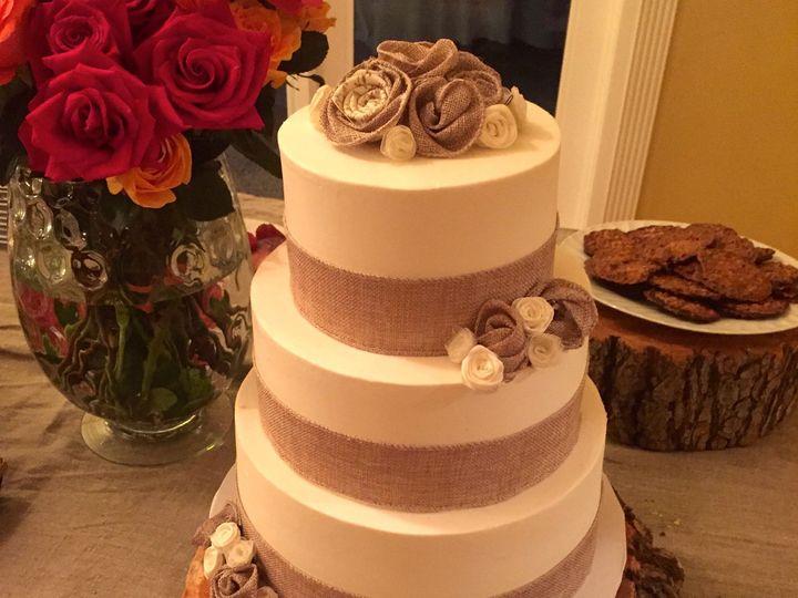 Tmx 1457209046139 Wed Cake Burlap Fountain Valley wedding cake