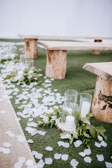 Rustic Benches with turf Floor