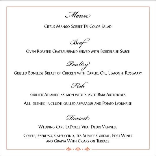 Menus designed to reflect your invitation's design elements. Impress your guests with menus printed...