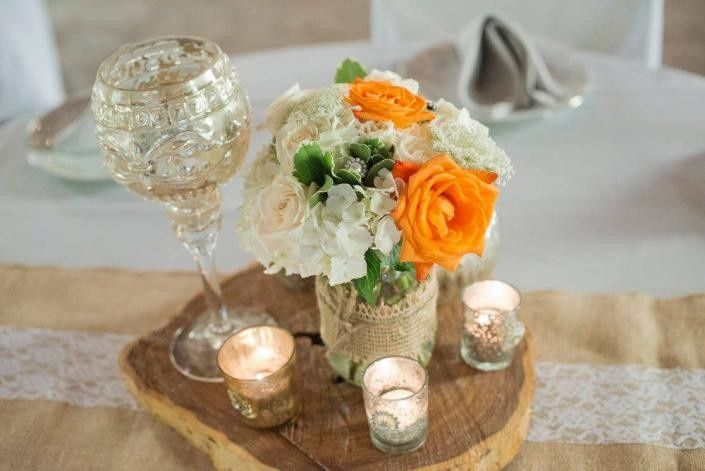 Table floral and candle centerpiece