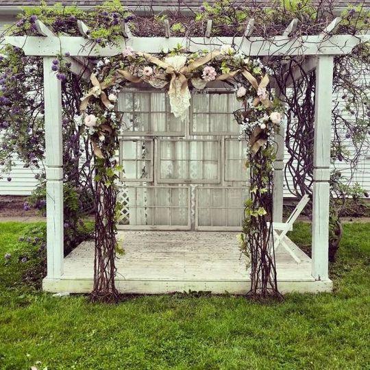 Decorated wedding arbor