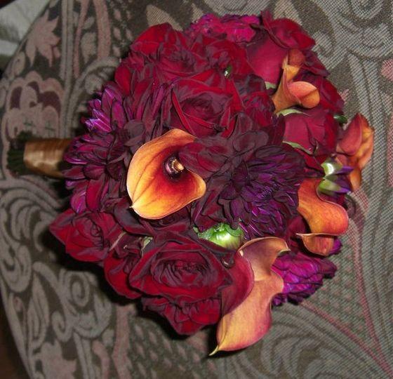 Dahlias, roses, calla lilies