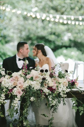 Blush burgundy garden wedding