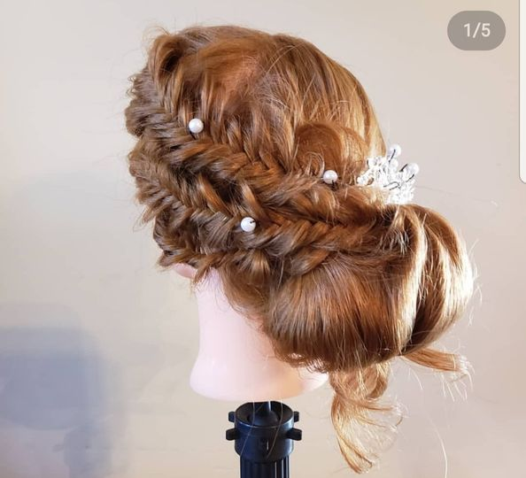 Updo with fishtail braids