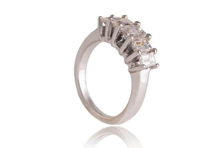 Style#R1540-14KW 14K White gold Emerald cut Anniversary ring. Contain 5 Emerald cut Diamonds VS1/VS2...