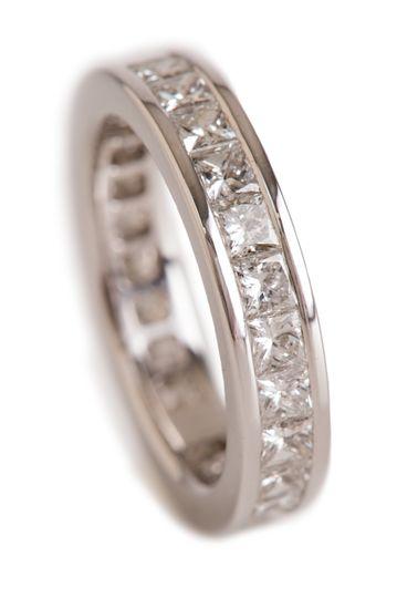 Style#R1518-14KW 14K White 3CTW Princess Cut Diamond Band  Clarity  SI1/SI2 G color  Diamond...