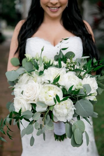 White Peony and Rose Bouquet