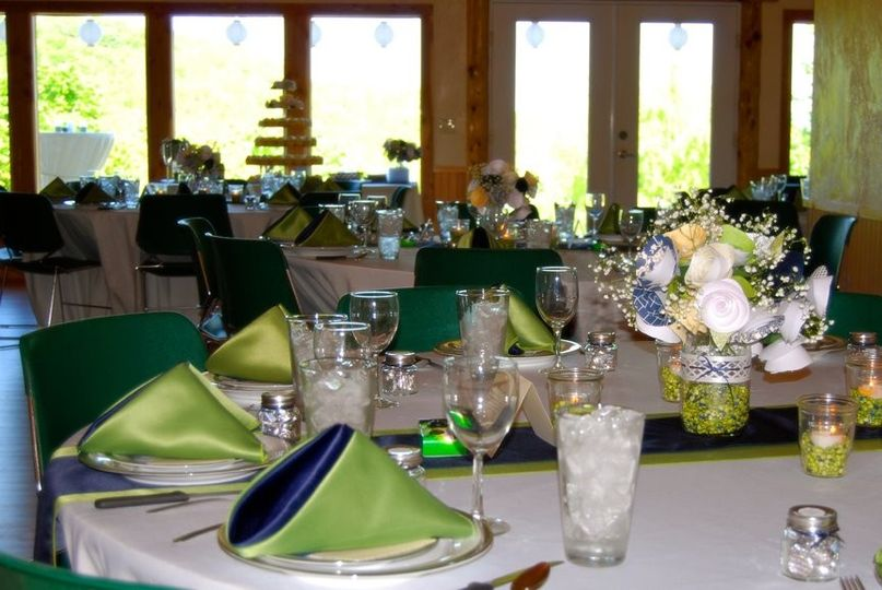 We provide tables, chairs, linens, full catering kitchen, wood for fireplace and more. Wall of...