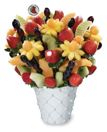 A beautiful pearl vase filled with your fruit fantasy!!