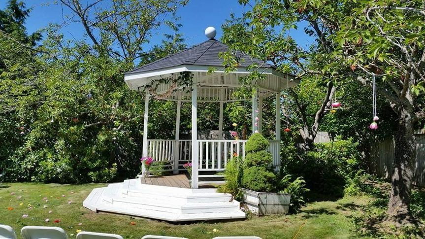 or a ceremony with our gazebo in the back corner