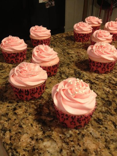 Pink champagne cupcakes and frosting.  Sure to be a hit at any bridal shower.