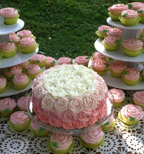 rose ombre cake and cupcakes