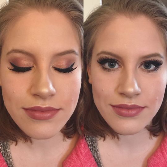Airbrushed makeup, eye makeup, and lashes for valentine's day.