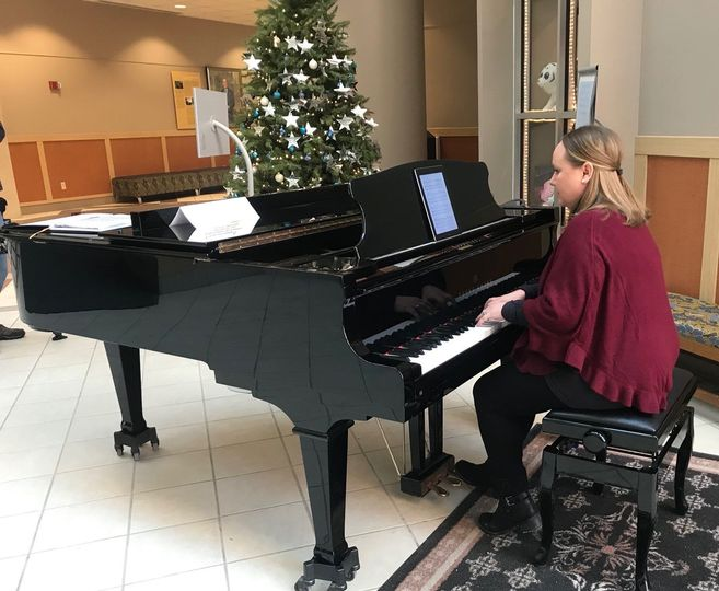 Katie Ann is a resident pianist volunteering at Roswell Park Cancer Institute in Buffalo.
