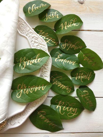 Lovely lettering on lemon leaves
