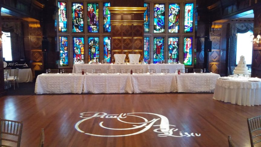 Sound, uplighting, and monogram provided at the beautiful Baltimore Club in downtown KC.