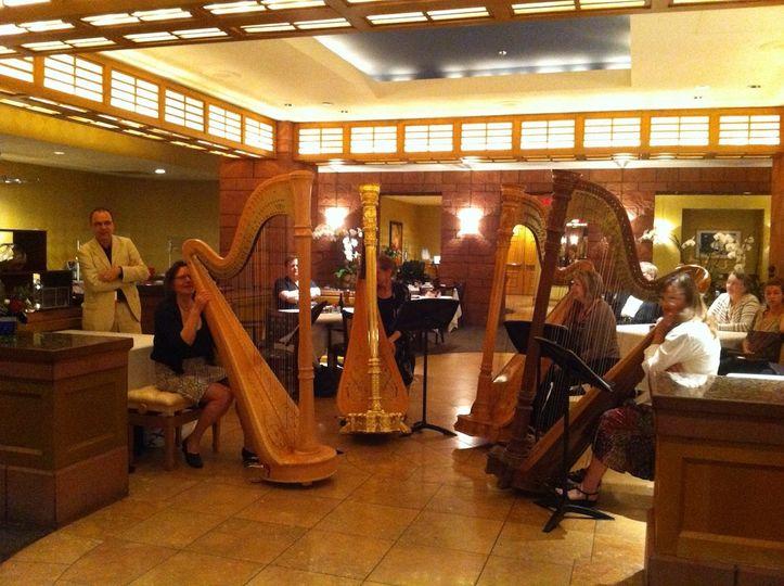 4 harpists